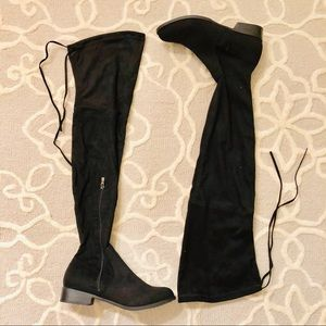 Black Thigh High Boots with Low heel